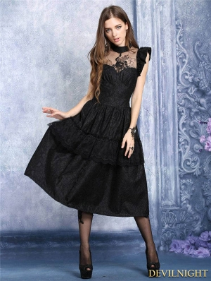 Black Gothic Peacock Dress