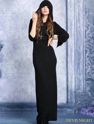 Black Hooded Long T-shirt Dress with Sexy Back