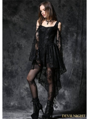 Black Off-the-Shoulder Long Sleeves High-Low Lace Gothic Dress