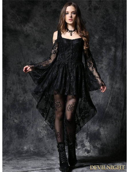 Black Off the Shoulder Long Sleeves High Low Lace Gothic