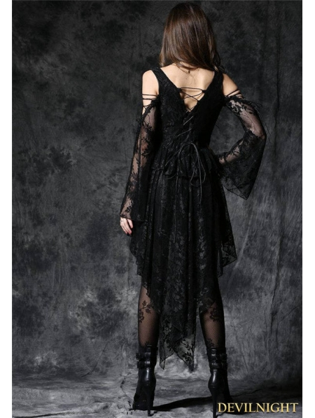 black offtheshoulder long sleeves highlow lace gothic