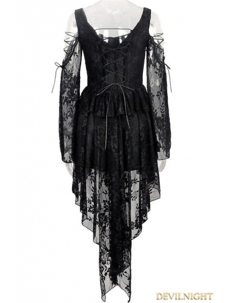 Black Off The Shoulder Long Sleeves High Low Lace Gothic Dress