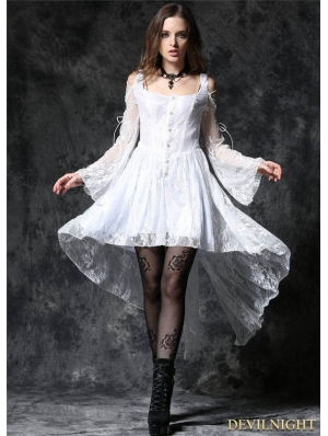 White Off-the-Shoulder Long Sleeves High-Low Lace Gothic Dress