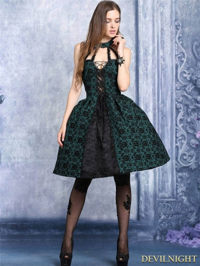 Black and Green Gothic Dress with Around Neck Design