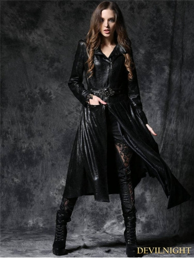 Black Gothic Asymmetric Robe Jacket with Ghost Belt