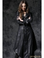 Black Gothic Crack Leather Sword Robe Jacket with Double-Buttons