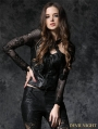Black Gothic Rose Leather Jacket Top with Sexy Flower Lace