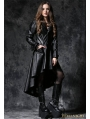 Black Gothic Leather Dovetail Robe Jacket with Eyelets Cap