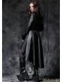Black Gothic Leather Dovetail Robe Jacket with Eyelets Cap