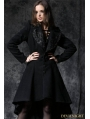 Black Gothic Lady Double-Faced Woolen Dovetail Robe Jacket