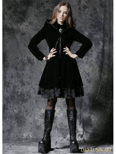 Gothic Dark Velvet Jacket with Lace Hem