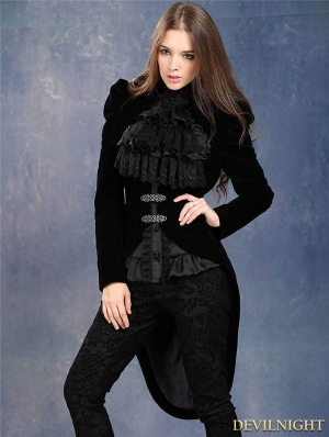 Black Velvet Gothic Masquerade Style Jacket for Women
