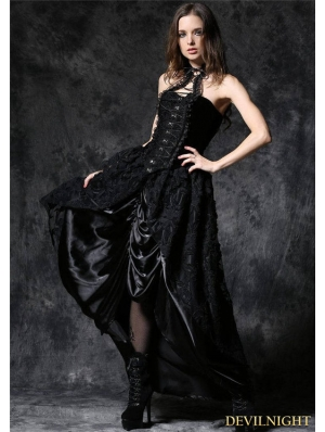 Gothic Lace Skirt with Satin Crimple