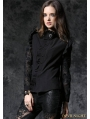 Black Gothic Long Sleeves Blouse with Lace-up Back