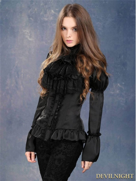 Black Victorian Style Gothic Blouse For Women Devilnight