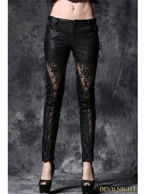Black Gothic Embossed Lace Leather Pants with Flower&cord