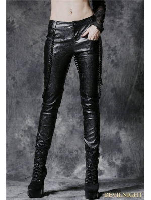 Black Gothic Punk Embossed Leather Pants with Detachable Chain