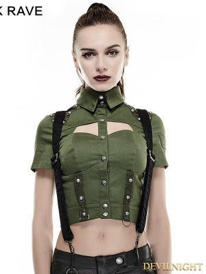 Green Sexy Military Uniform Short Shirts for Women