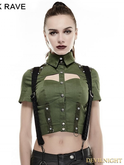 Green Sexy Military Uniform Short Shirts for Women