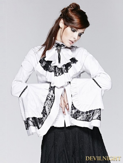 White Gothic Long Trumpet Sleeves Blouse with Detachable Bowtie