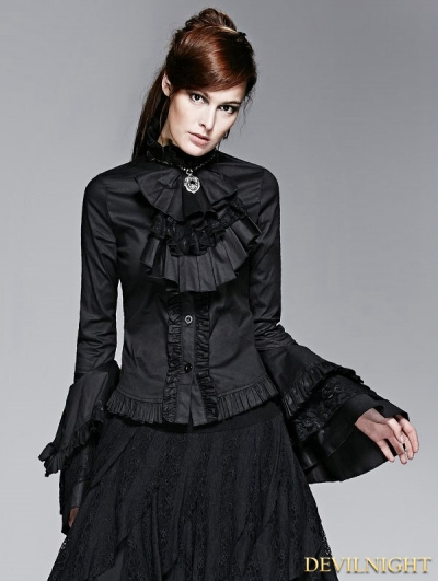 Black Gothic Long Trumpet Sleeves Blouse with Detachable Bowtie