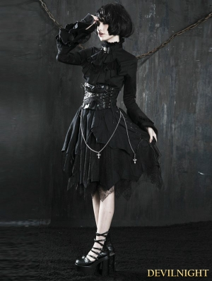 Black Gothic Punk Spider Web Irregular Skirt