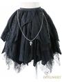 Black Gothic Punk Spider Web Irregular Skirt