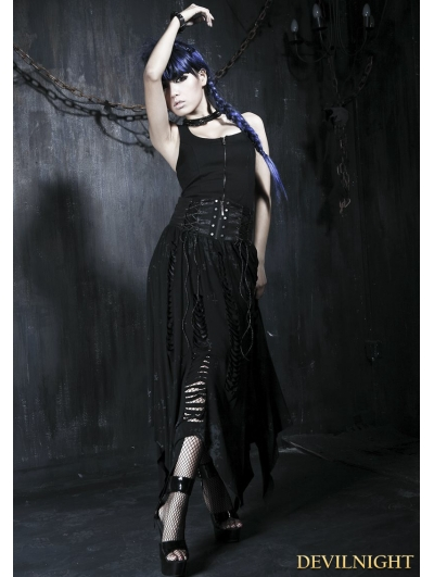 Black Gothic High Waist Irregular Skirt
