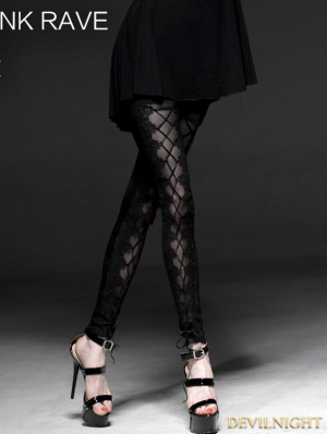 Black Gothic Mesh Laciness Legging for Women