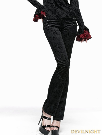 Black Gothic Long Flared Trousers for Women