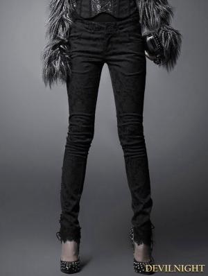 Black Gothic Dark Jacquard Trousers for Women