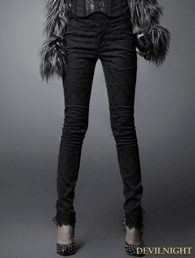 Black Gothic Dark Jacquard Trousers for Women