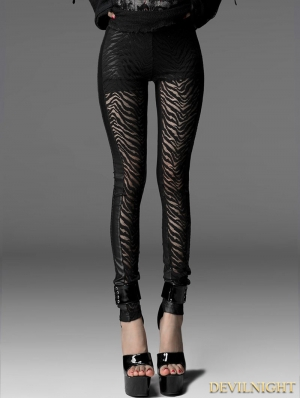 Black Gothic Hollow Out Zebras Legging for Women