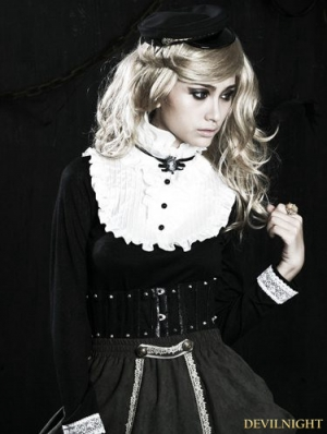 White and Black Gothic Sweet Lolita Shirt