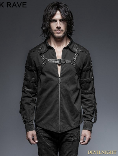 Gothic Punk Long Sleeves Belt Blouse for Men