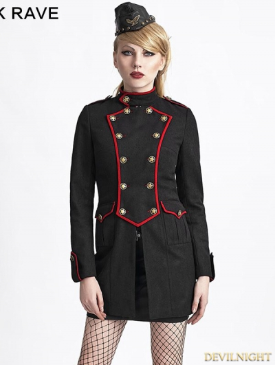 Black Gothic Military Style Wool Coat