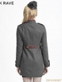 Gray Gothic Military Style Wool Coat