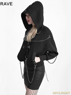 Black Gothic Heavy Metal Chain Bat Sweater for Women