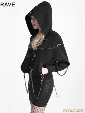 Black Gothic Heavy Metal Chain Bat Sweater for Women