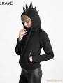 Black Gothic Punk Hoodie Coat with Rhino Horn for Women