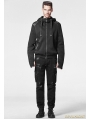 Black Gothic Punk Hoodie Coat with Rhino Horn for Men