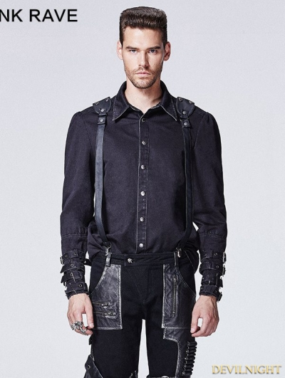 Black Gothic Punk Shirt with Vertebra Printing for Men