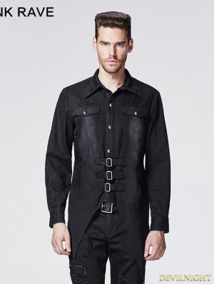 Black Gothic Punk Bats Shirt for Men