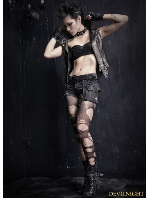 Black Gothic Punk Elastic Wash Water Denim Shorts