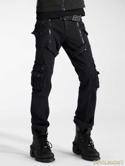 Black Gothic Punk Zippers Pants for Men
