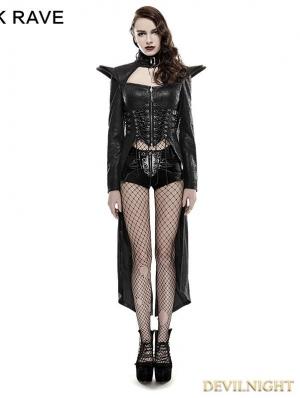 Black Gothic Punk Queen Long Rider Coat for Women