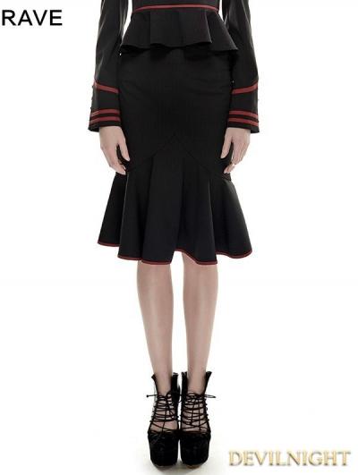 Black and Red Gothic Fishtail Military Uniform Skirt Kilt