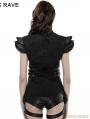 Black Gothic Punk Armor Fold Female T-Shirt