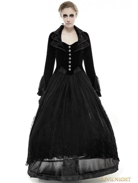 Vintage Black Velvet Gothic Long Coat For Women