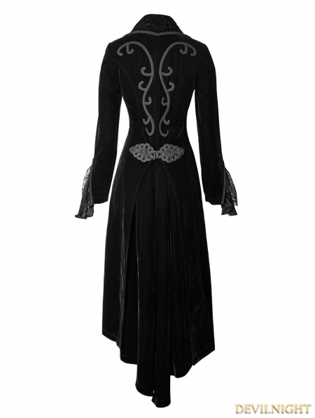 Vintage Black Velvet Gothic Long Coat For Women